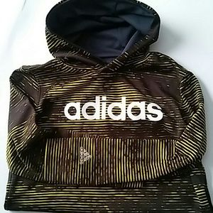 Adidas sweatshirt black yellow sz 10-12 youth